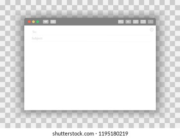 Blank window of E-mail, template vector illustration. E-mail blank template internet mail frame interface for mail message. Email message Blank window of E-mail, template