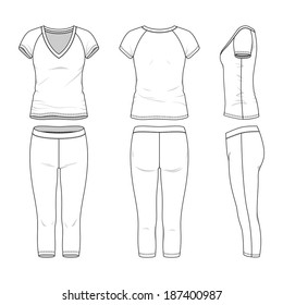 Blank women's active wear in front, back and side views. Vector illustration. Isolated on white.