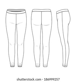 Blank women's leggings in front, back and side views. Vector illustration. Isolated on white.