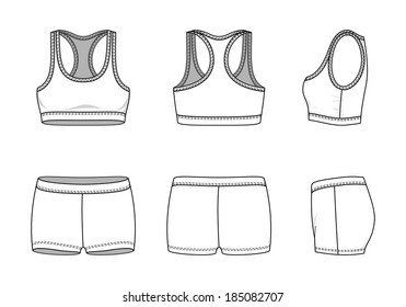 Blank women's sports suit in front, back and side views. Vector illustration. Isolated on white.