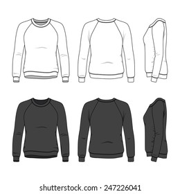 Blank women's sweatshirt in front, back and side views