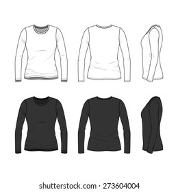 Blank Women's tee in front, back and side views.