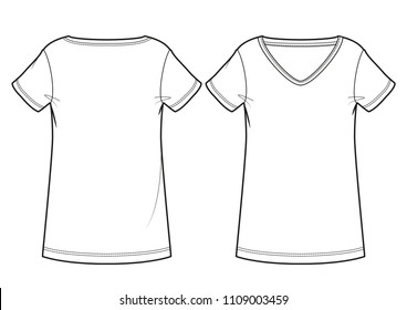 Blank women's T-shirt (front and back view)