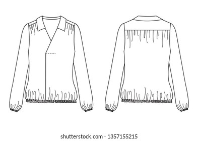 Blank women's V-neck flat collar long sleeve blouse shirt in front and back views .Vector illustration.