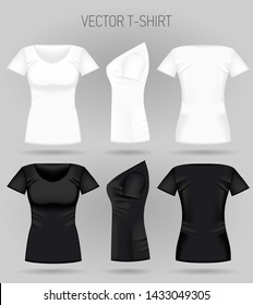 Blank women's white and black t-shirt in front, back and side views. Vector illustration. Realistic female sport shirts