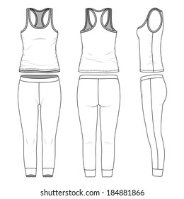 Blank women's yoga suit in front, back and side views. Vector illustration. Isolated on white.