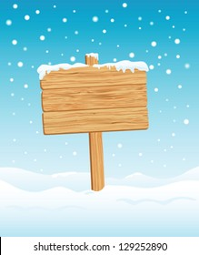 Blank Wooden Sign in Snow illustration