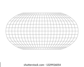 Blank World grid of meridians and parallels. Simple vector illustration.