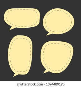 blank yellow cartoon speech bubbles with different shape on dark background. vector illustration