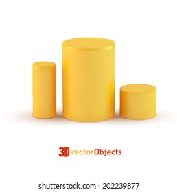 Blank yellow cylinders on white background