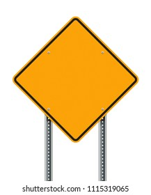 Blank Yellow Diamond road sign