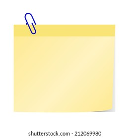 blank yellow notice papers  with blue paper clip