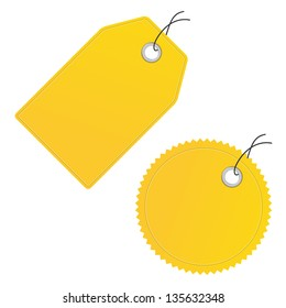 blank yellow price discount labels vector icon