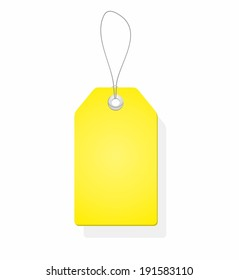 Blank yellow price tag isolated on white background. Vector illustration