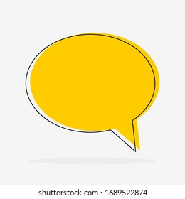 blank yellow speech bubble icon on grey background. vector illustration