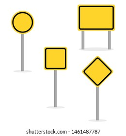 blank yellow traffic sign with different shape isolated on white background. vector illustration