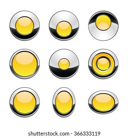 Blank yellow web buttons for website or app. Vector
