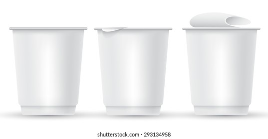 Blank Yogurt Plastic Cup : Vector Illustration