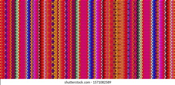 Blanket Stripes Seamless Vector Pattern. Ethnic Mexican Fabric Pattern.