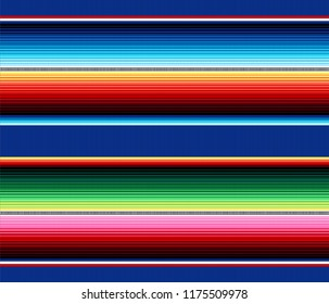 Blanket stripes vector pattern. Background for Cinco de Mayo party decor or ethnic mexican fabric pattern with colorful stripes. Serape design