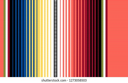 Blanket stripes vector pattern. Background for Cinco de Mayo party decor or ethnic mexican fabric pattern with colorful stripes. Serape design with trendy colors