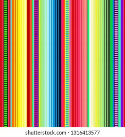 Blanket stripes vector pattern. Background for Cinco de Mayo party decor or ethnic mexican fabric pattern with colorful stripes. Serape design with trendy colors.