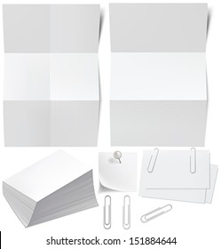 Blanks white paper, business cards, a stack of business cards, p