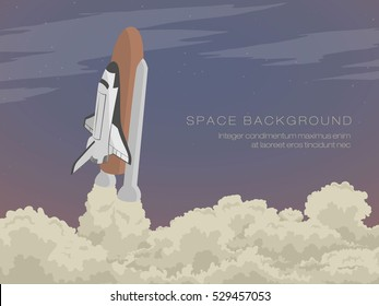 blast off launch pad Shuttle flies into space