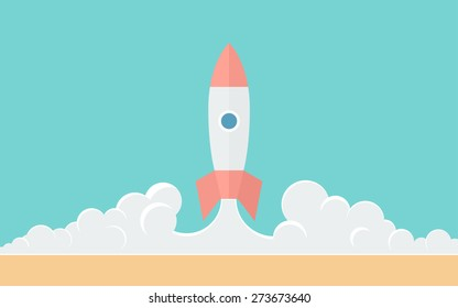 Blast Off - Simple Illustration in Flat Style