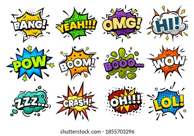 Blast sounds, comic pop art bubble, vector superhero cartoon speech. Comic book sound blasts set, bang and boom, hero action explosion and text cloud icons, omg, yeah, hi and wow halftone explodes