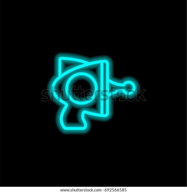 Blaster blue glowing neon ui ux icon. Glowing sign logo vector