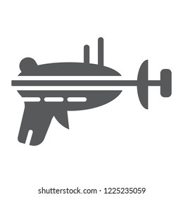 Blaster glyph icon, space and weapon, laser blaster sign, vector graphics, a solid pattern on a white background, eps 10.