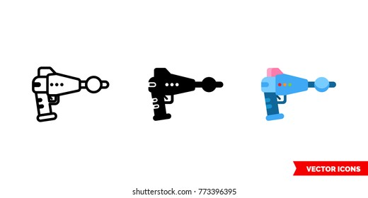 Blaster icon of 3 types: color, black and white, outline. Isolated vector sign symbol.