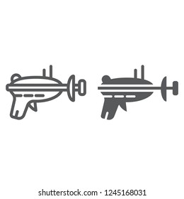 Blaster line and glyph icon, space and weapon, laser blaster sign, vector graphics, a linear pattern on a white background, eps 10.
