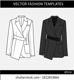 blazer Fashion flat Sketches  template. Women  blazer CAD