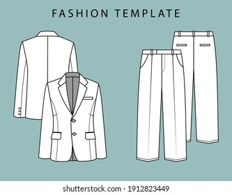 blazer and pant front and back view. office wear outfit. fashion flat sketch template