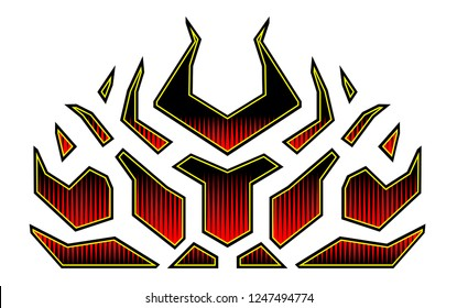 Blazing fire decals for the hood of the car. Hot Rod Racing Flames. Vinyl ready tribal flames. Vehicle and motorbike stickers, with burning effect isolated vector.