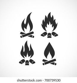 Blazing fire flame vector icon set isolated on white background