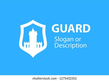 Blazon emblem with Shield and Stronghold castle - Vector respectable logotype emblem for business flat style. White medieval tower fortress isolated on white background.