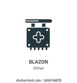 Blazon glyph icon vector on white background. Flat vector blazon icon symbol sign from modern other collection for mobile concept and web apps design.