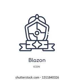 blazon icon from other outline collection. Thin line blazon icon isolated on white background.