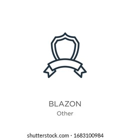 Blazon icon. Thin linear blazon outline icon isolated on white background from other collection. Line vector sign, symbol for web and mobile