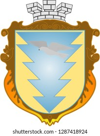 Blazon. Knight Armour. Bird. Vector image of family coat of arms with tower and bird. Flat design, vector illustration, vector.
