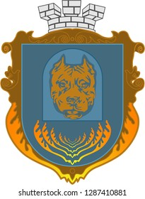 Blazon. Knight Armour. Vector image of a pit bull on a coat of arms. Flat design, vector illustration, vector.