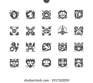 Blazon. Royal coat of arms. National emblem. Shield, heraldic, majestic, royal, imperial, decorative, escutcheon, kingdom. Vector Solid Icons. Simple Pictogram