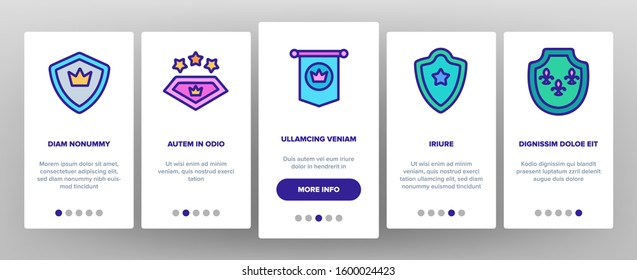 Blazon Shield Shapes Onboarding Mobile App Page Screen Vector. Medieval And Antique Blazon With Ribbon, Stars And Crown, Blank Kingdom Symbolic Illustrations