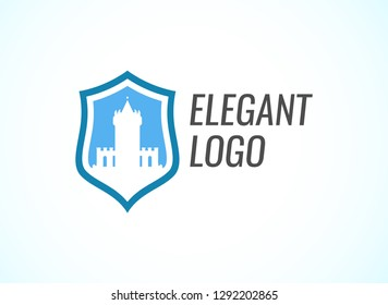Blazon with Stronghold Castle on coat of arms flat style in blue color with caption. Vector logo for Real Estate business or Law and rights protection.