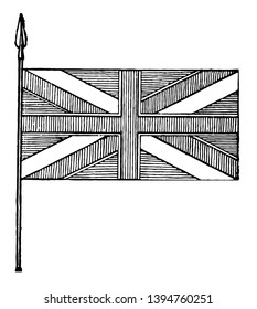 Blazon of Union Flag, this flag has cross of vertical lines superimposed on saltire, vintage line drawing or engraving illustration