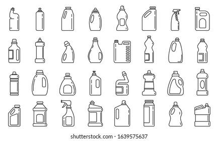 Bleach bottle icons set. Outline set of bleach bottle vector icons for web design isolated on white background