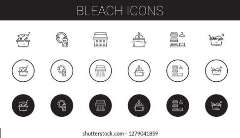 bleach icons set. Collection of bleach with laundry, washing. Editable and scalable bleach icons.